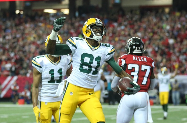 Oct 30, 2016; Atlanta, GA, USA; Green Bay Packers wide receiver Geronimo Allison (81) celebrates his touchdown catch against Atlanta Falcons free safety Ricardo Allen (37) in the second quarter of their game at the Georgia Dome. Mandatory Credit: Jason Getz-USA TODAY Sports