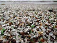 Unique Glass Beach in California. The glass beach near Fort Bragg in California formed after the trash dumped there for years by local residents was pounded into sand by the surf. The dumping was eventually prohibited, but the glass sand remains.Image credits: digggs