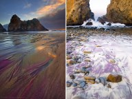 Pfeiffer Purple Sand Beach, California. The purple sand at this beach (which is only found in patches) is formed when manganese garnet deposits in the surrounding hills erode into the sea. Image credits: Tom Grubbe | dfmead
