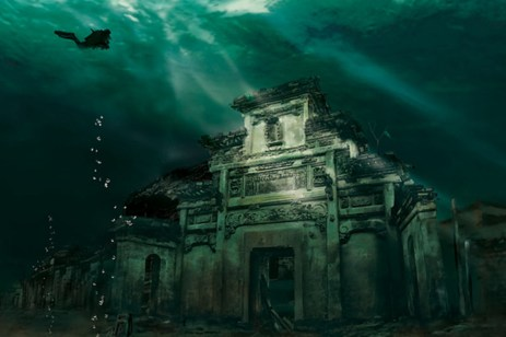 Underwater City - Shicheng, China. Shicheng has been under water for 53 years since the Xin'an River Hydro Plant flooded the area. The city was founded 1,300 years ago.