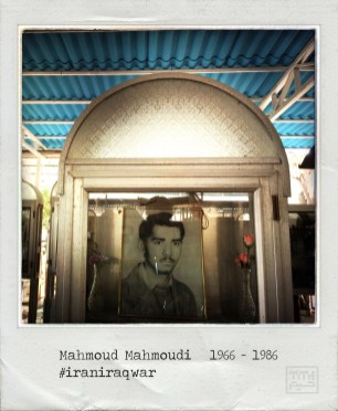 A picture taken with an iPhone on September 21, 2014 and processed with Hipstamatic and Polamatic applications shows a portrait of Mahmoud Mahmoudi inside a decorative box next to his grave at the martyrs section of Behesht-e Zahra (Zahra's Paradise) cemetery, south of Tehran. Mahmoudi was a 20-year-old Iranian Army soldier, killed on June 23, 1986, during the Iran-Iraq war (1980-88). The war between Iran and Iraq was the longest conventional war of 20th century and was officially started on September 22, 1980, when Iraqi armed forces invaded western Iran and ended on August 20, 1988, when Iran accepted the United Nation's ceasefire resolution 598. More than one million people died in the eight-year war