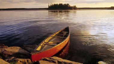 Canoe on Nutimik Lake, Whiteshell Provincial Park, Manitoba, Canada
