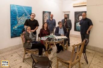 Gallery Visiting in Dhaka. Reza Mirkarmi, Pooyan Tabatabaei, Mostafa Azizi, Fedya Noorelahian, Mohammad Gozarabadi and Kaveh Oveisi