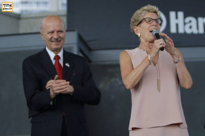 Premier of Ontario, Kathleen Wynne. and Reza Moridi; Ontario Minister of Research, Innovation and Science, at Tirgan Festival 2017 at Harbourfront Center, Toronto