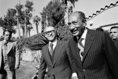 Israeli Prime Minister Menachem Begin & Egyptian President Anwar Al Sadat at the Israel/Egypt peace talks in 1977.