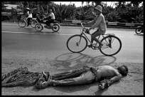 South Vietnam. Near My Tho. 1973. The corpse of a VIETCONG (North Vietnamese controlled guerilla army) is exhibited on a road controlled by the South Vietnamese Army.