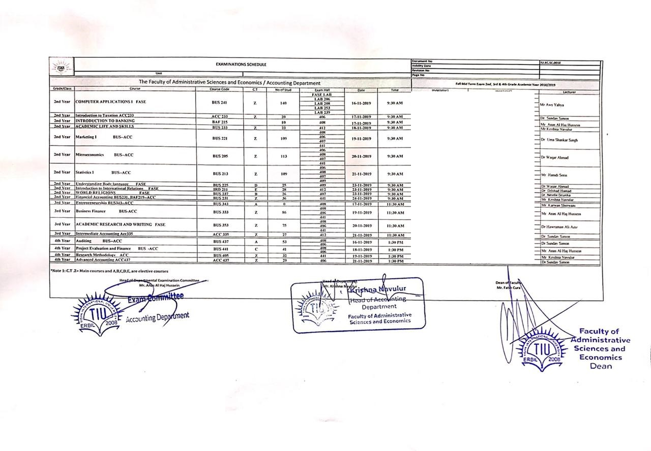 Fall Semester Midterm Examination Schedule Updated