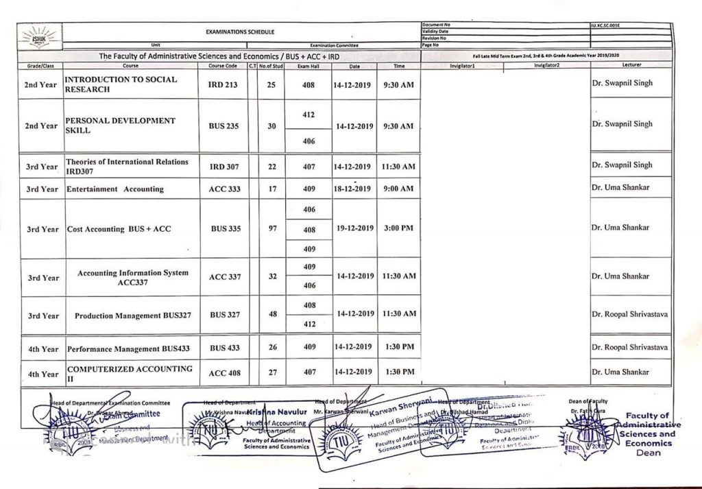 Fall Semester Late Midterm Examination Schedule UPDATED
