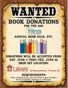 A 2017 flyer for book donations made to look like a wild west wanted poster