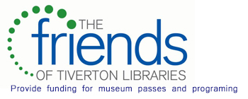 "The friends of Tiverton libraries logo captioned ""provide funding for museum passes and programming"""