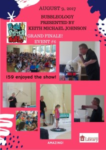 Flyer with several pictures of children watching and participating in a Bubbleology show