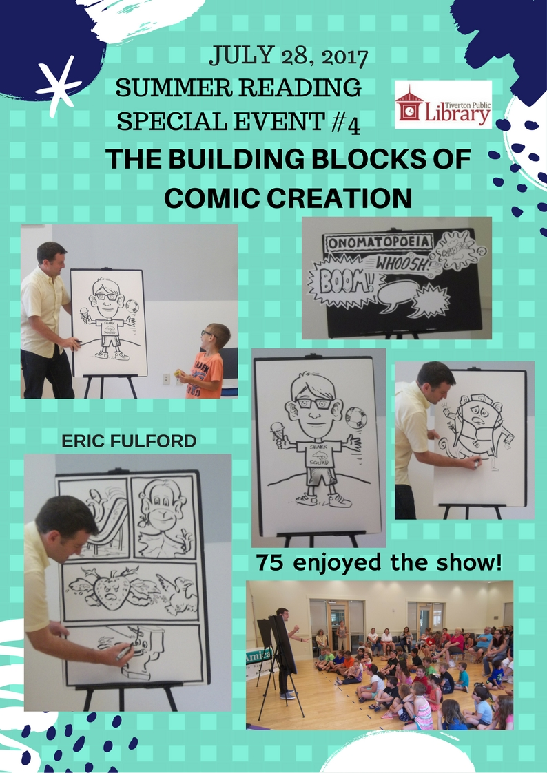 A flyer with several pictures of children watching watching a man present the process of comic creation