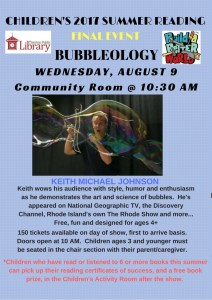 A flyer advertising a Bubbleology show by Keith Michael Johnson