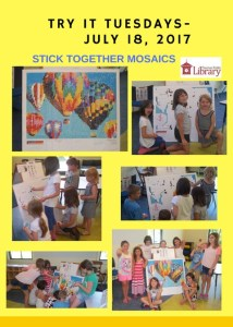 A flyer with several photos of children assembling a Stick Together Mosaic of multi-colored hot air balloons