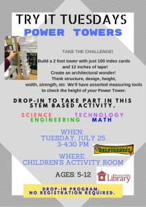 Flyer for Power Towers describing building two foor tall towers with 100 index cards