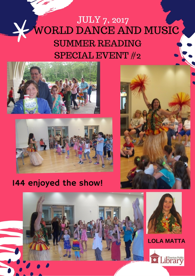 Flyer for World Dance and Music on July 7, 2017 picturing several photos of children dancing with dancer Lola Matta