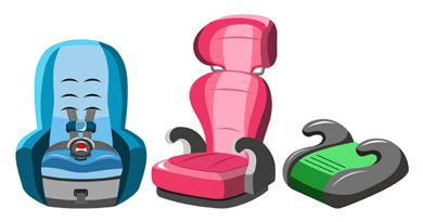 digital drawing of three different kinds of car seats for children