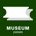 """digital drawing of two plain white tickets captioned """"Museum passes"""""""