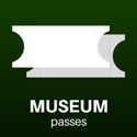 """A digital drawing of two plain white tickets captioned """"museum passes"""""""