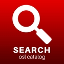 "image of a magnified glass captioned ""Seach osl catalog"""