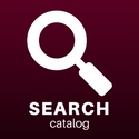 "a digital drawing of a magnifying glass captioned ""search catalog"""