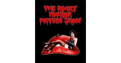 "an edited image of person sitting in a very large mouth titled ""The Rocky Horror Show"""