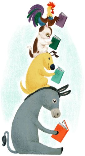 animals sitting on each others shoulders reading a donkey a dog a rooster