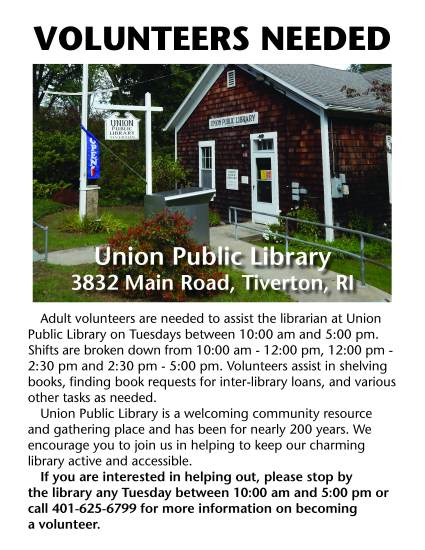 volunteers needed at the union public library
