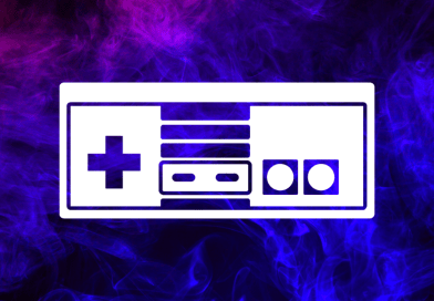 white retro game controller in front of purple blue galaxy