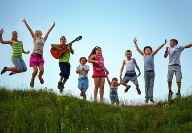 children leaping