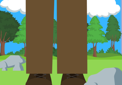 a giant in the field only his shoes and pants in view