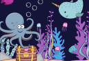 narwal and octopus in the sea with a sunken treasure chest on the ocean floor