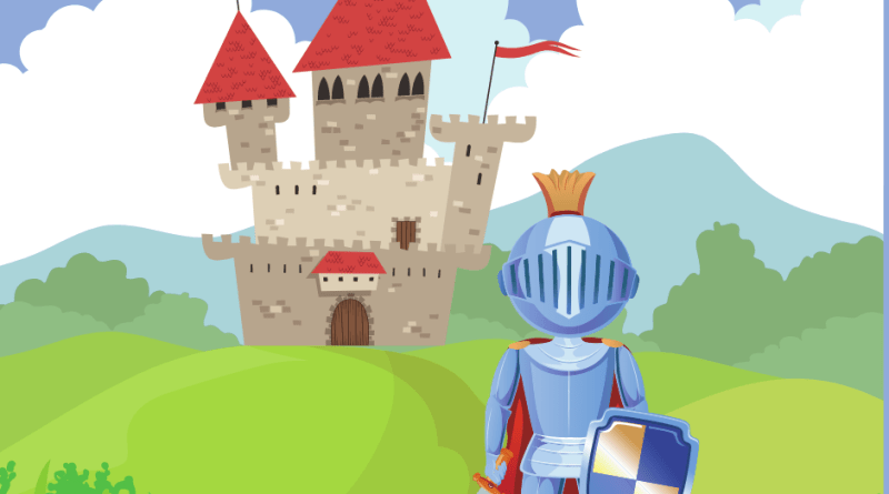 knight in front of a castle