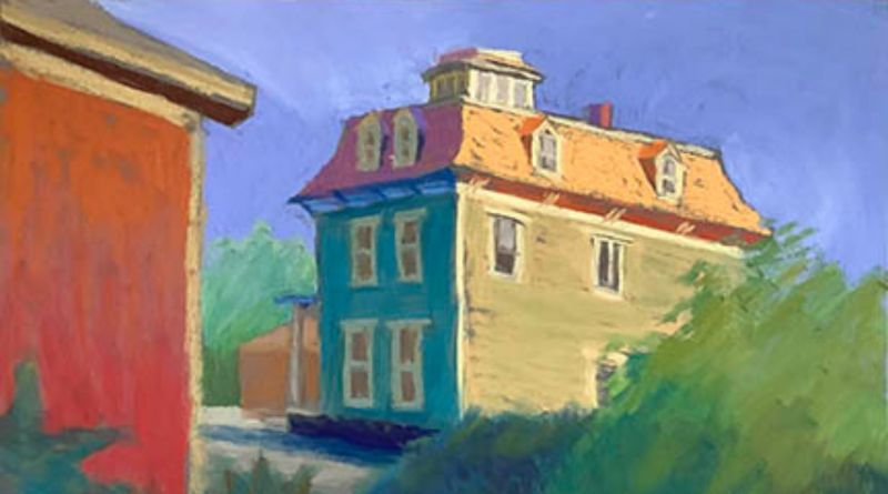 painting of a blue house in the sunlight