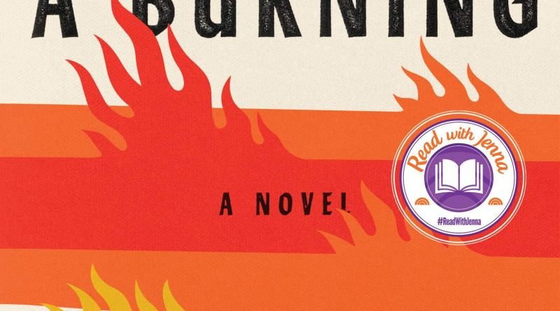 A Burning by Megha Majumdar book cover bands of color imply flames