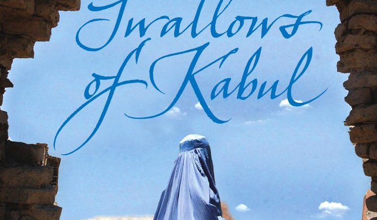 The Swallows of Kabul by Yasmina Khadra book cover woman in blue garb standing in an arid setting