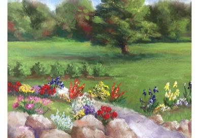 painting of a garden. rocks in front. red yellow white purple flowers. green grass and shrubs behind the garden. trees in the distance