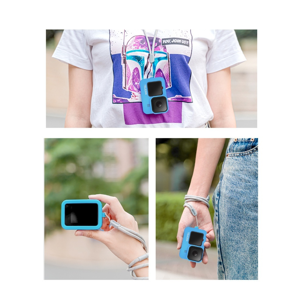 TELESIN GP-HER-041-BL Blue Silicone Soft Protective Case For GoPro 9 india tiyana 10
