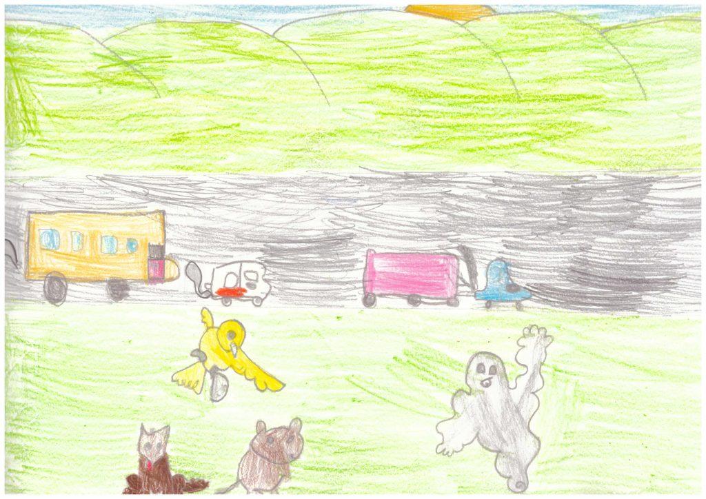 disegni dei bambini sulla fiaba del mostro dello smog