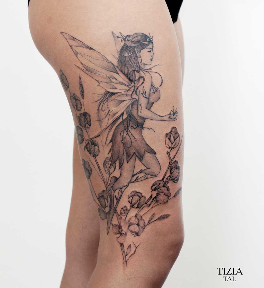 tattoo-cuisse-elfe-femme-fleurs