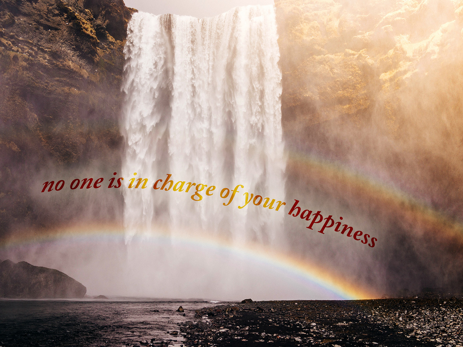 daily inspirational quote image: a waterfall in the early morning creating a beautiful rainbow