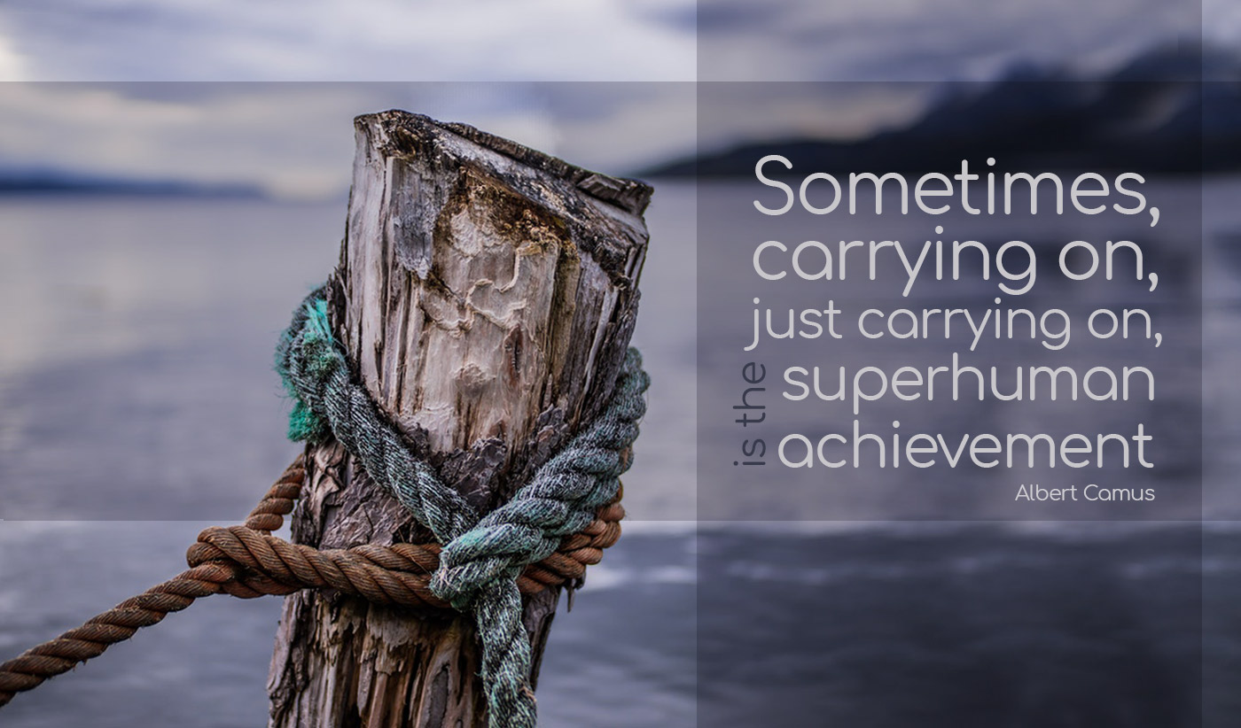 daily inspirational quote image: close up of a pole set in the water with a rope