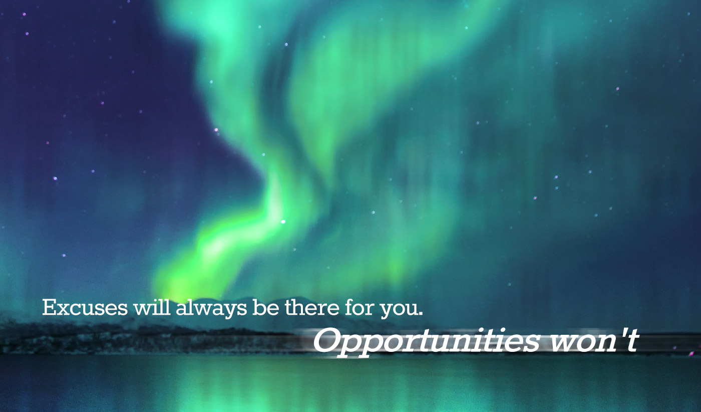daily inspirational quote image: green and blue aurora borealis