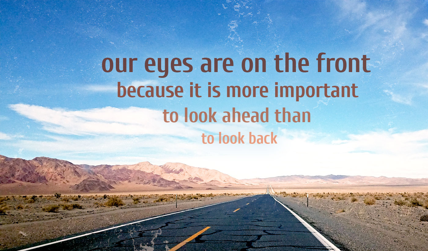 daily inspirational quote image: an empty, 2 lanes, road disappearing at the horizon in a desert landscape