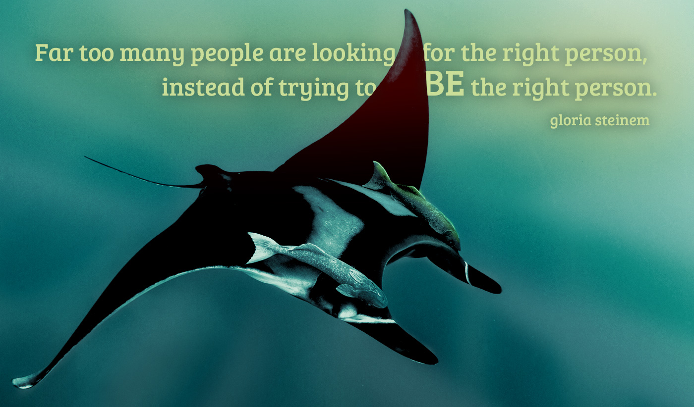 daily inspirational quote image: a majestic Manta ray swimming with fish on its back