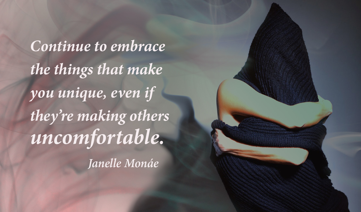 daily inspirational quote image: person hugging herself, while hidden almost completely by an oversized sweater