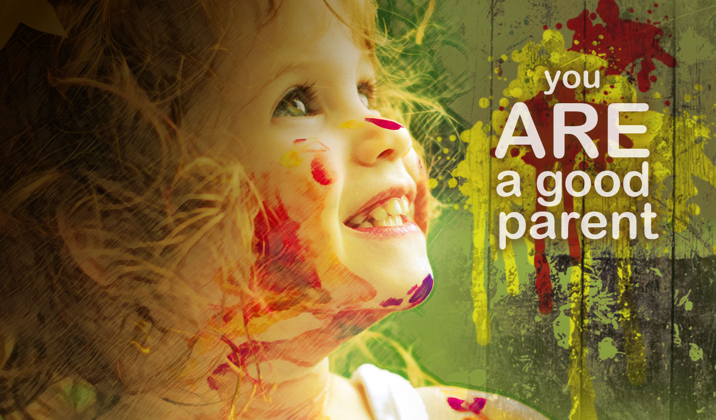 daily inspirational quote image: happy face of a girl covered in colorful paint