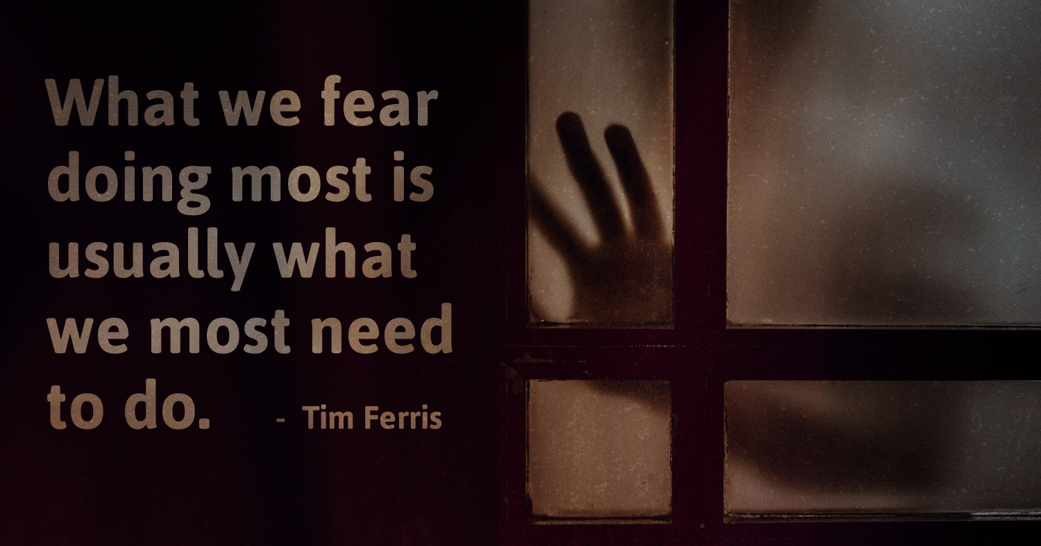 daily inspirational quote image: dark shadow of a hand behind opaque glass