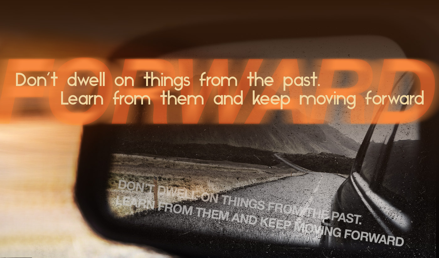 daily inspirational quote image: close up of a rear view mirror reflecting a twisty road