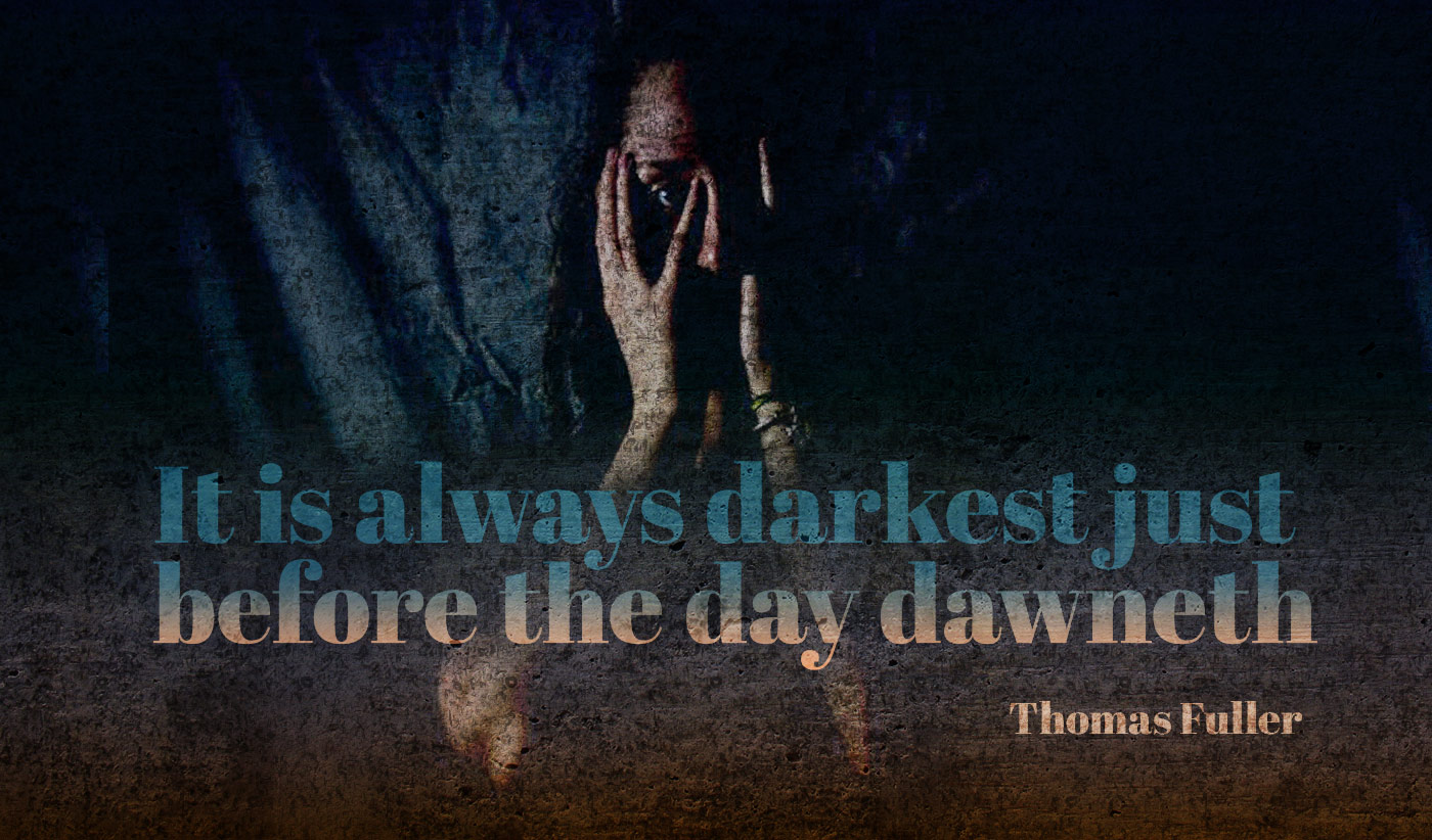 daily inspirational quote image: dark photo of a woman hiding most of her face behind her hands